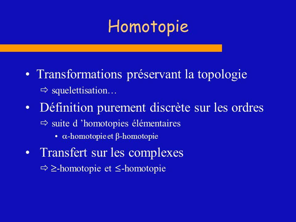 Homotopie Transformations préservant la topologie squelettisation… Définition purement discrète sur les ordres suite d homotopies élémentaires -homoto