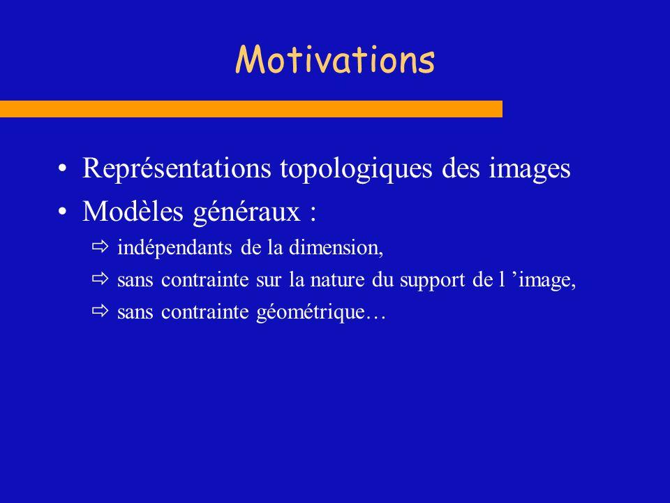 Motivations Représentations topologiques des images Modèles généraux : indépendants de la dimension, sans contrainte sur la nature du support de l ima