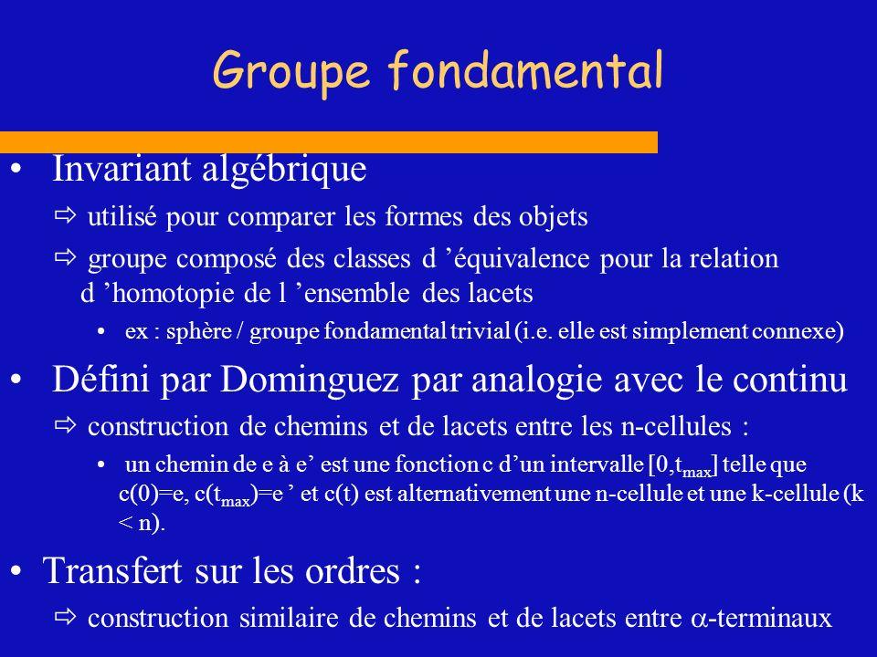 Groupe fondamental Invariant algébrique utilisé pour comparer les formes des objets groupe composé des classes d équivalence pour la relation d homoto
