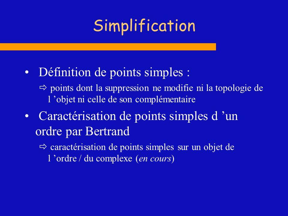 Simplification Définition de points simples : points dont la suppression ne modifie ni la topologie de l objet ni celle de son complémentaire Caractér
