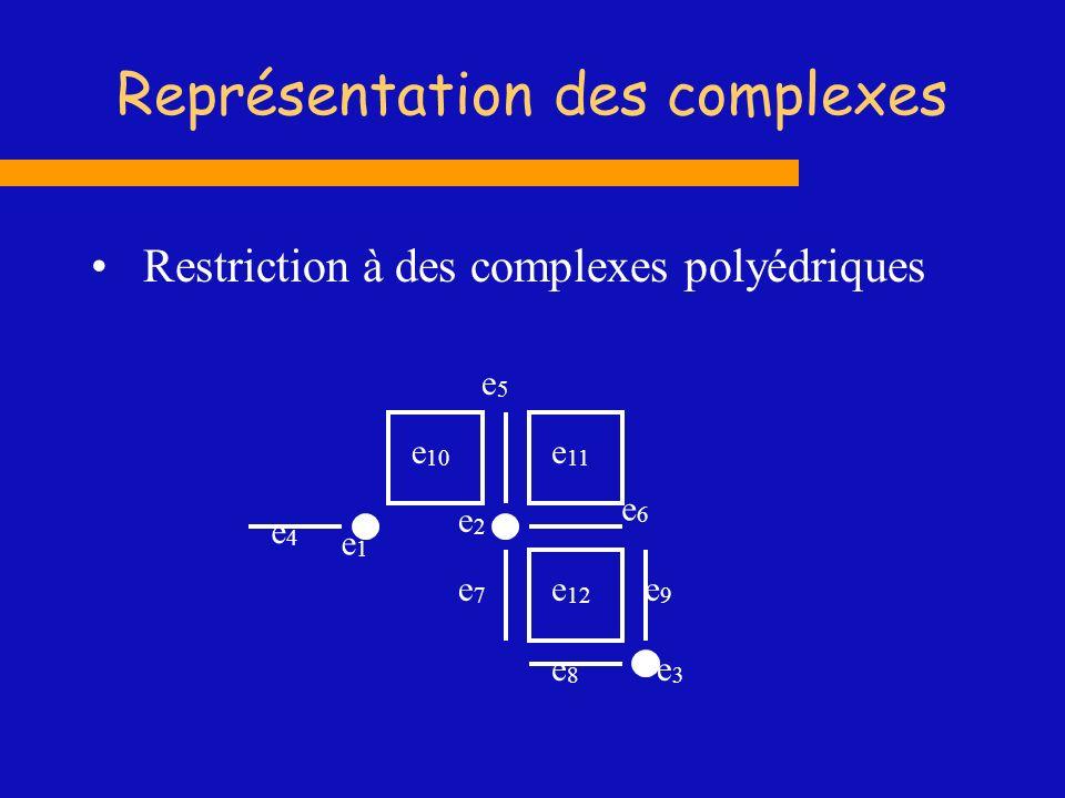 Représentation des complexes Restriction à des complexes polyédriques e5e5 e4e4 e2e2 e1e1 e7e7 e 10 e 11 e 12 e9e9 e8e8 e6e6 e3e3
