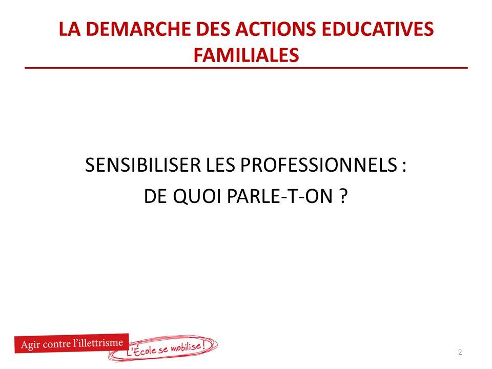 LA DEMARCHE DES ACTIONS EDUCATIVES FAMILIALES SENSIBILISER LES PROFESSIONNELS : DE QUOI PARLE-T-ON .