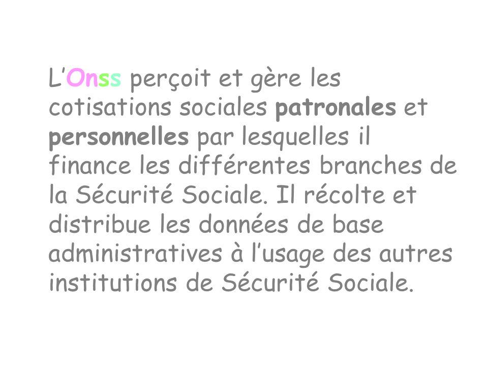 LOnss perçoit et gère les cotisations sociales patronales et personnelles par lesquelles il finance les différentes branches de la Sécurité Sociale. I