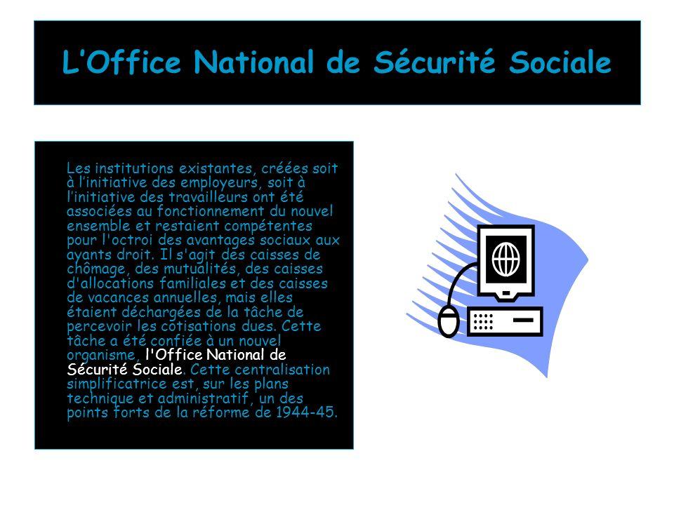 LOffice National de Sécurité Sociale Les institutions existantes, créées soit à linitiative des employeurs, soit à linitiative des travailleurs ont ét