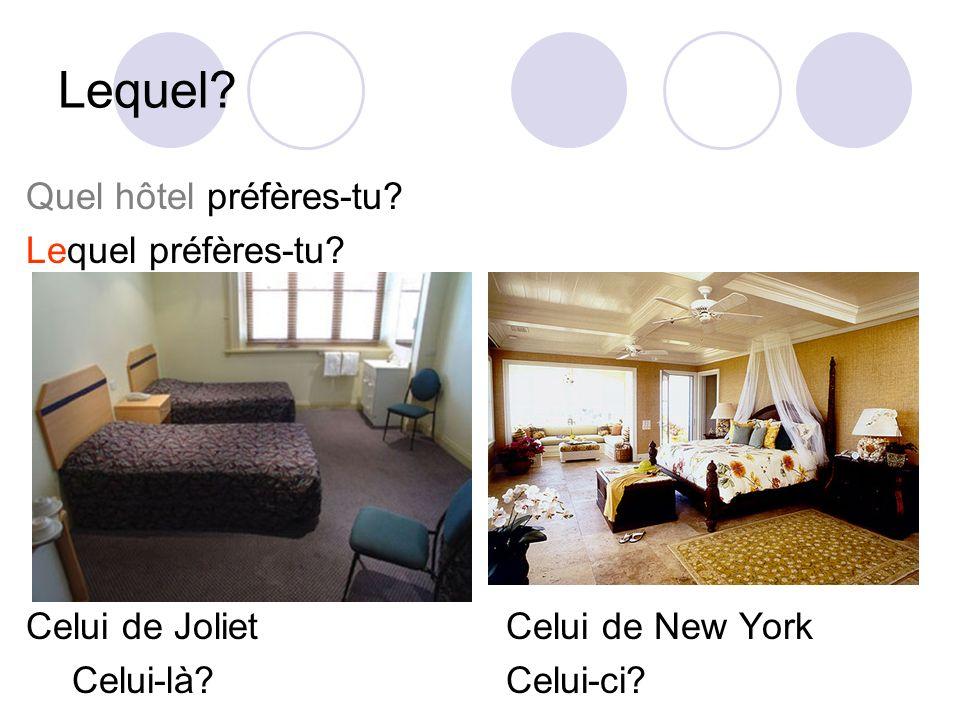 Lequel? Quel hôtel préfères-tu? Lequel préfères-tu? Celui de JolietCelui de New York Celui-là?Celui-ci?