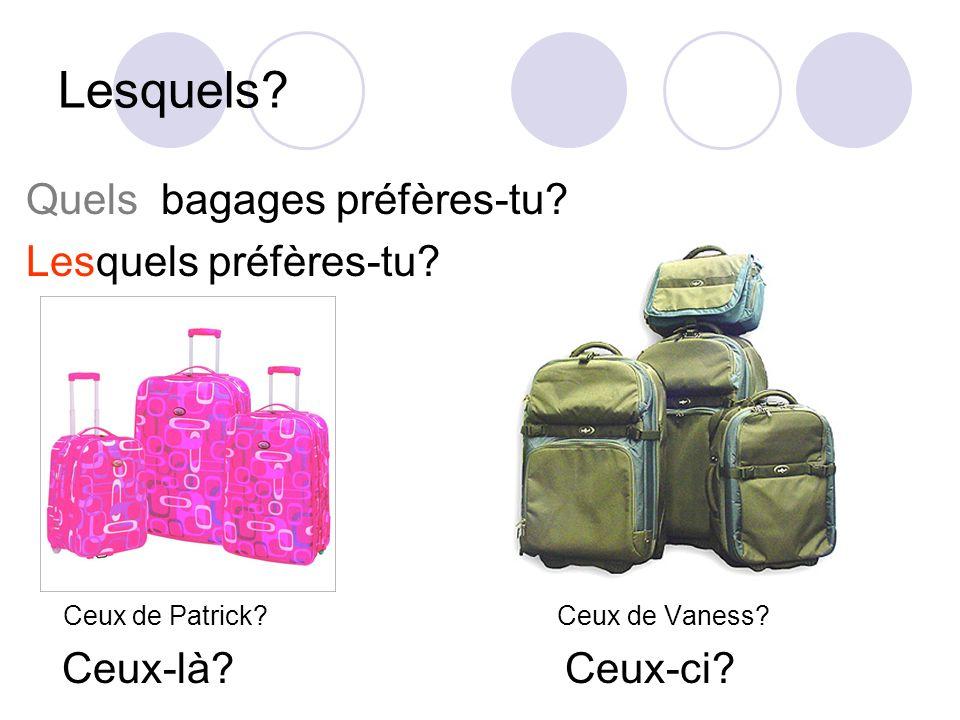 Lesquels? Quels bagages préfères-tu? Lesquels préfères-tu? Ceux de Patrick? Ceux de Vaness? Ceux-là? Ceux-ci?