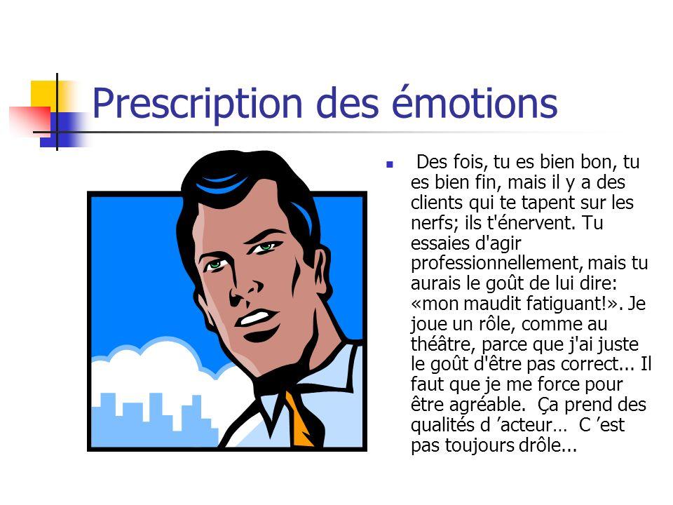 Prescription des émotions Des fois, tu es bien bon, tu es bien fin, mais il y a des clients qui te tapent sur les nerfs; ils t'énervent. Tu essaies d'