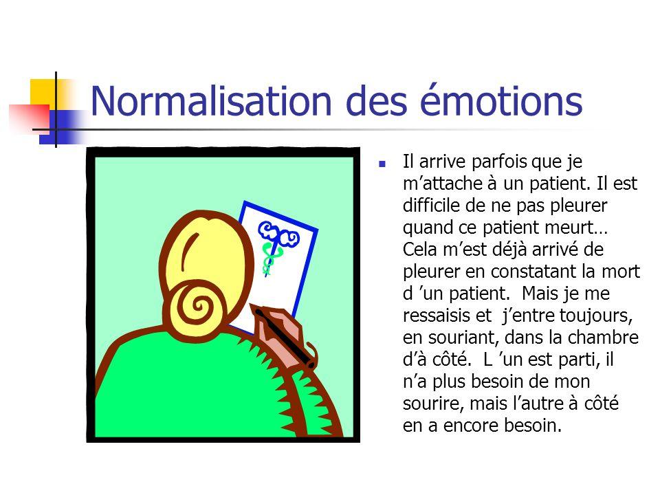 Normalisation des émotions Il arrive parfois que je mattache à un patient. Il est difficile de ne pas pleurer quand ce patient meurt… Cela mest déjà a