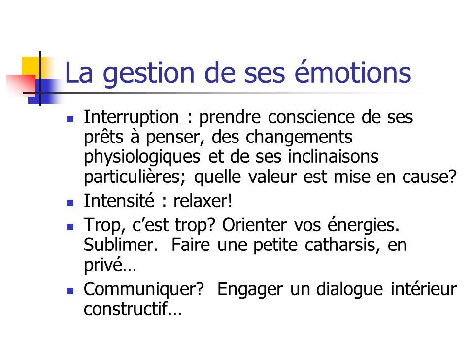 La gestion de ses émotions Interruption : prendre conscience de ses prêts à penser, des changements physiologiques et de ses inclinaisons particulière