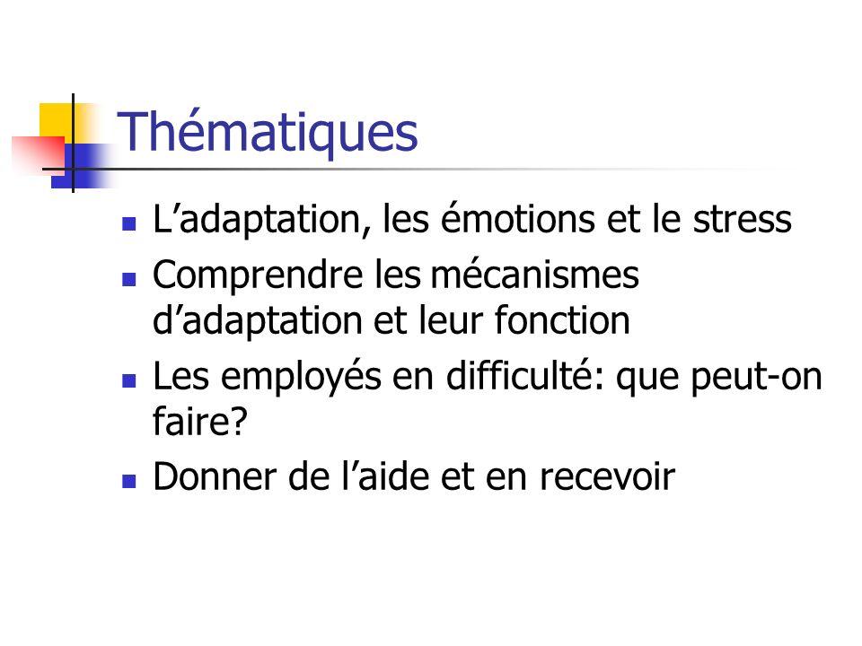 Thématiques Ladaptation, les émotions et le stress Comprendre les mécanismes dadaptation et leur fonction Les employés en difficulté: que peut-on fair