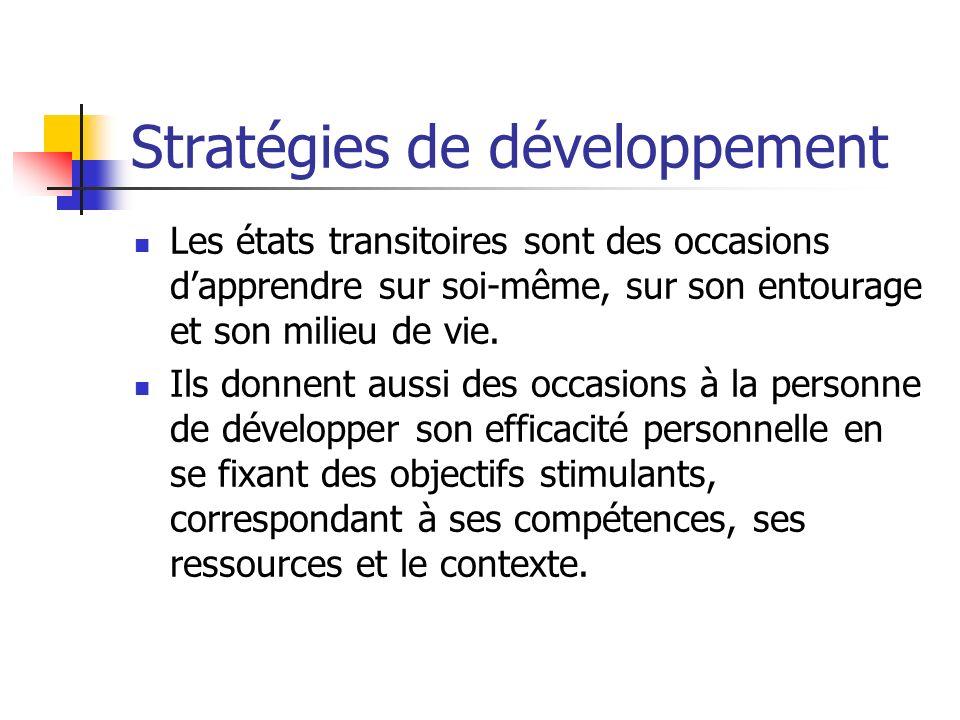 Stratégies de développement Les états transitoires sont des occasions dapprendre sur soi-même, sur son entourage et son milieu de vie. Ils donnent aus