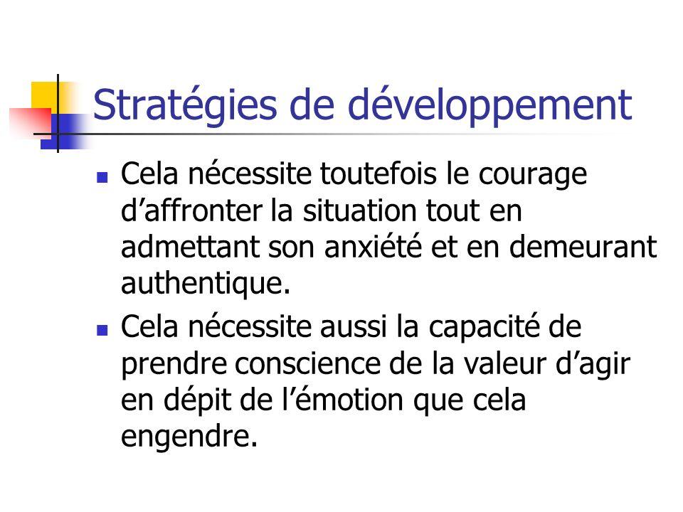 Stratégies de développement Cela nécessite toutefois le courage daffronter la situation tout en admettant son anxiété et en demeurant authentique. Cel