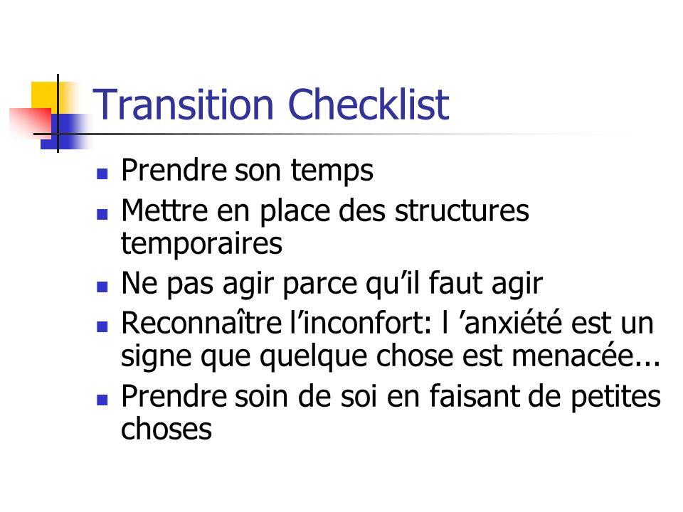 Transition Checklist Prendre son temps Mettre en place des structures temporaires Ne pas agir parce quil faut agir Reconnaître linconfort: l anxiété est un signe que quelque chose est menacée...