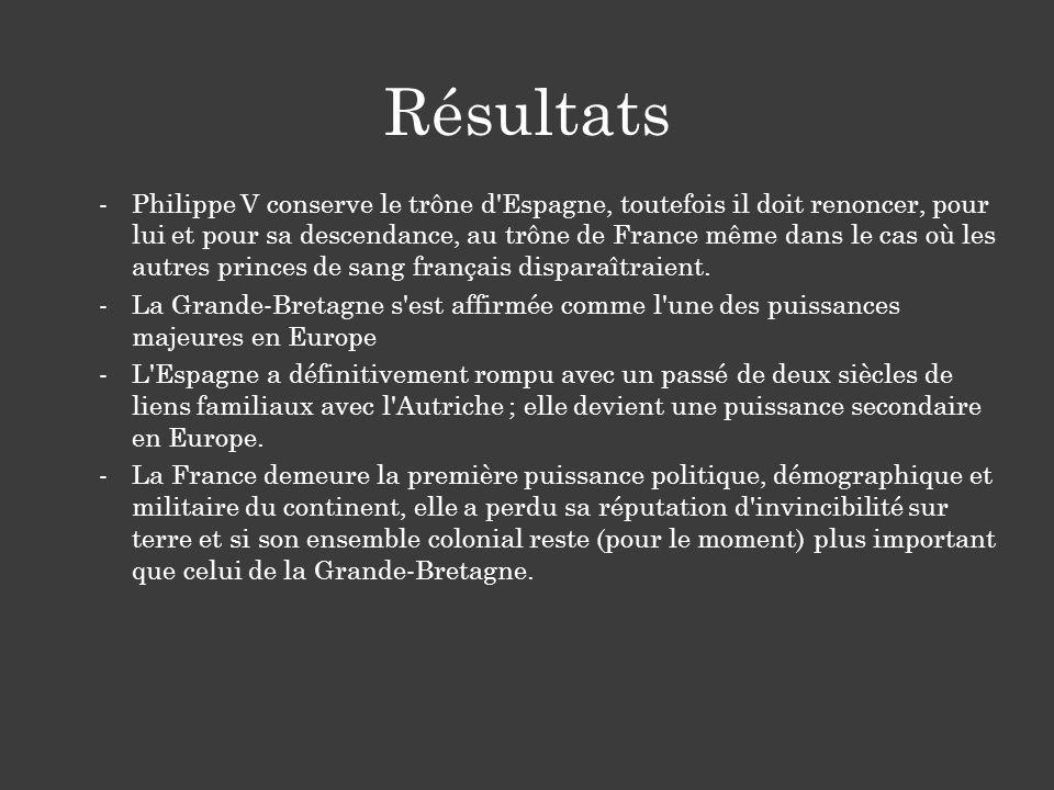 -Philippe V conserve le trône d Espagne, toutefois il doit renoncer, pour lui et pour sa descendance, au trône de France même dans le cas où les autres princes de sang français disparaîtraient.