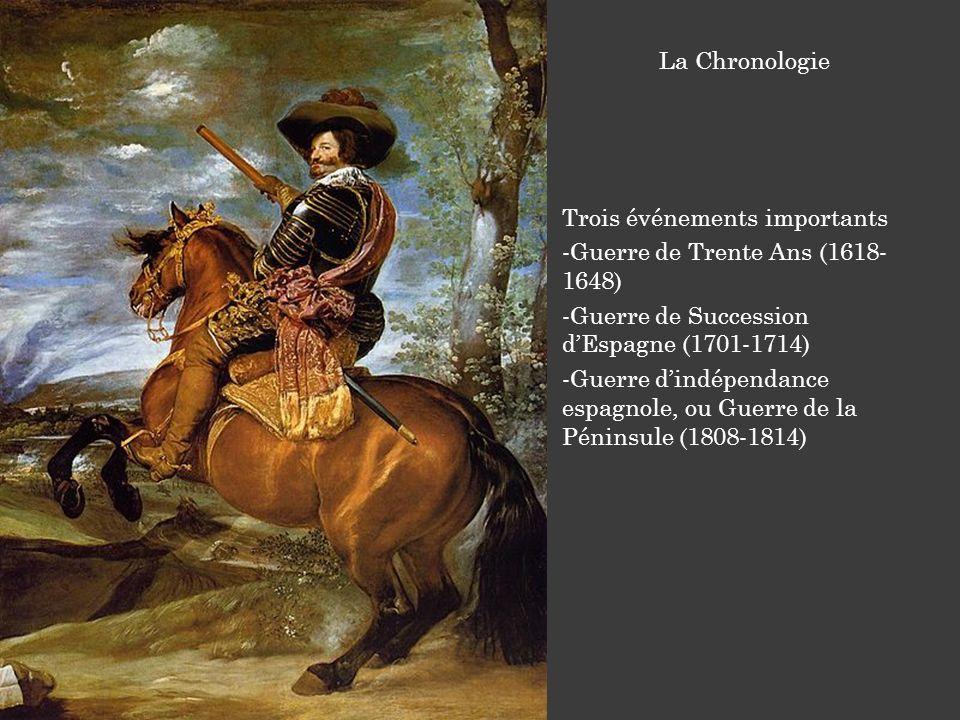 Trois événements importants -Guerre de Trente Ans (1618- 1648) -Guerre de Succession dEspagne (1701-1714) -Guerre dindépendance espagnole, ou Guerre de la Péninsule (1808-1814) La Chronologie