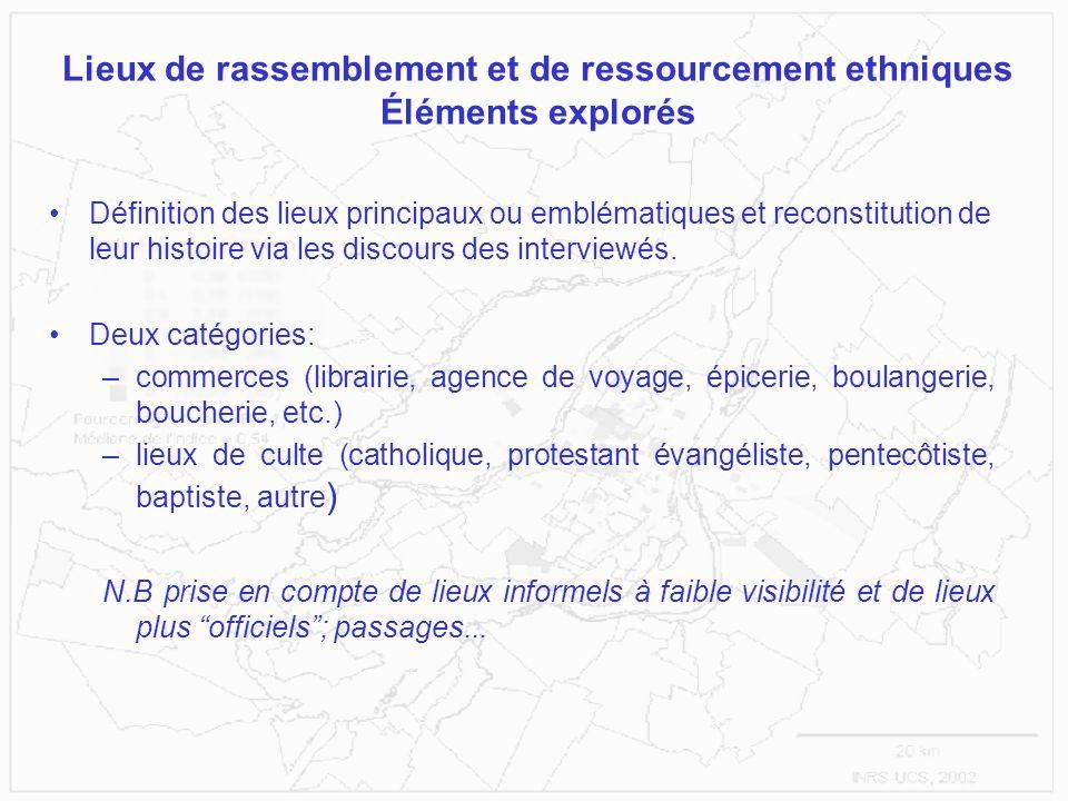 Lieux de rassemblement et de ressourcement ethniques Éléments explorés Définition des lieux principaux ou emblématiques et reconstitution de leur hist