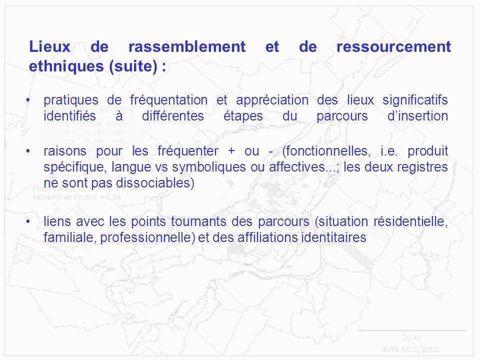 Lieux de rassemblement et de ressourcement ethniques (suite) : pratiques de fréquentation et appréciation des lieux significatifs identifiés à différe