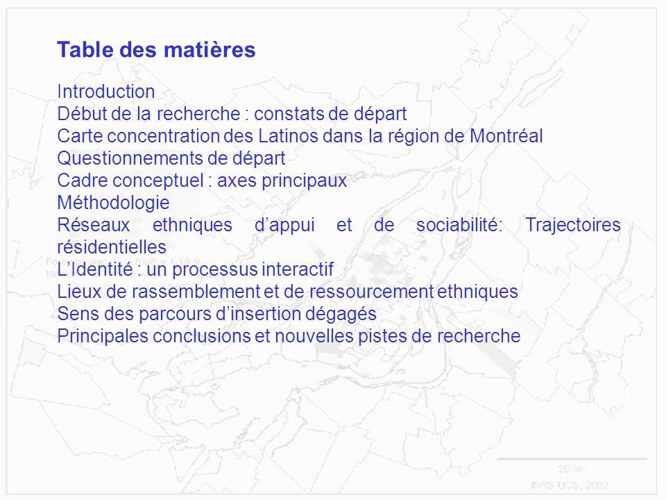 Introduction Début de la recherche : constats de départ Carte concentration des Latinos dans la région de Montréal Questionnements de départ Cadre con