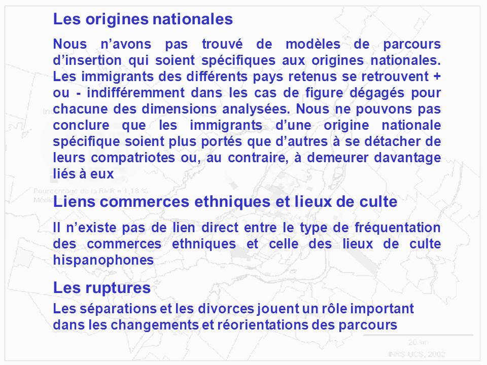 Les origines nationales Nous navons pas trouvé de modèles de parcours dinsertion qui soient spécifiques aux origines nationales. Les immigrants des di