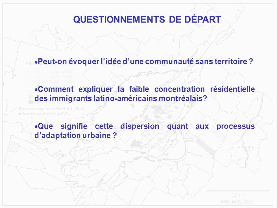 Peut-on évoquer lidée dune communauté sans territoire ? Comment expliquer la faible concentration résidentielle des immigrants latino-américains montr