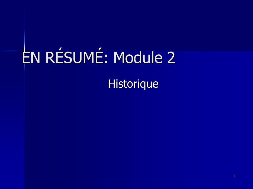 1 EN RÉSUMÉ: Module 2 Historique
