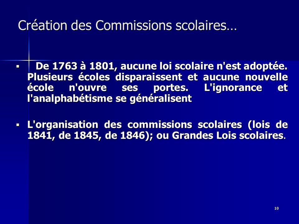 10 Création des Commissions scolaires… De 1763 à 1801, aucune loi scolaire n'est adoptée. Plusieurs écoles disparaissent et aucune nouvelle école n'ou