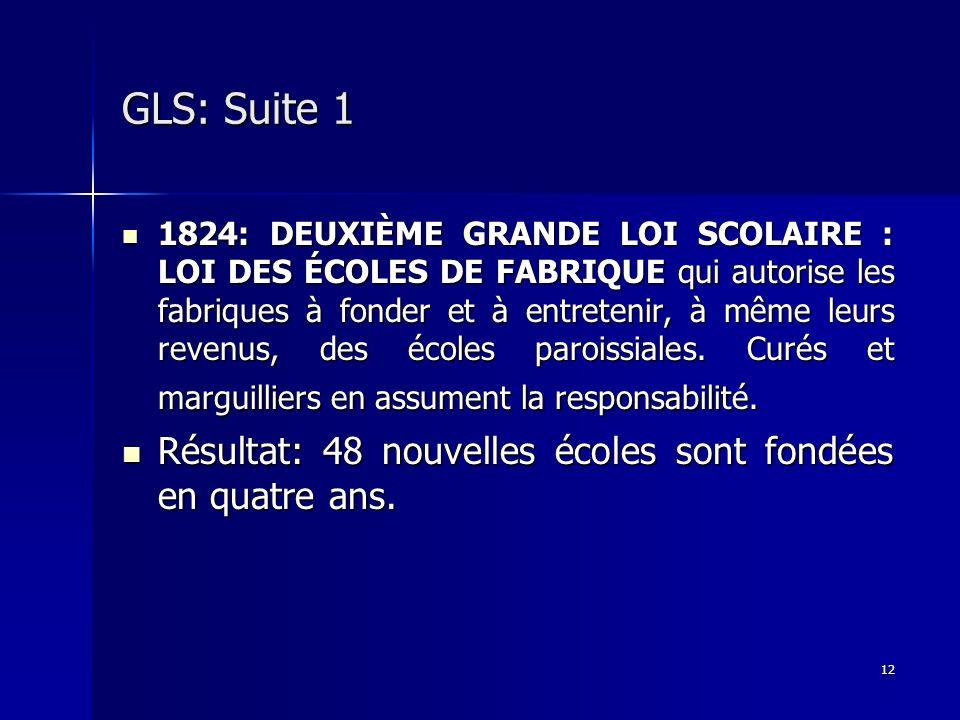 12 GLS: Suite 1 1824: DEUXIÈME GRANDE LOI SCOLAIRE : LOI DES ÉCOLES DE FABRIQUE qui autorise les fabriques à fonder et à entretenir, à même leurs reve