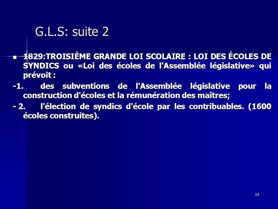 13 G.L.S: suite 2 1829:TROISIÈME GRANDE LOI SCOLAIRE : LOI DES ÉCOLES DE SYNDICS ou «Loi des écoles de l'Assemblée législative» qui prévoit : 1829:TRO