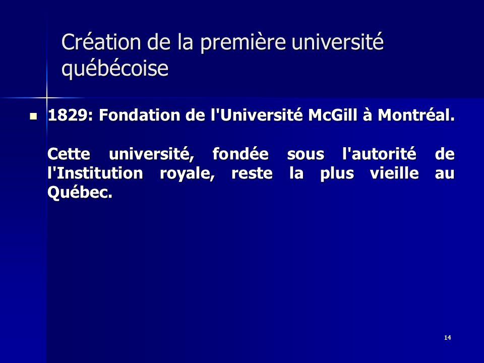 14 Création de la première université québécoise 1829: Fondation de l'Université McGill à Montréal. Cette université, fondée sous l'autorité de l'Inst