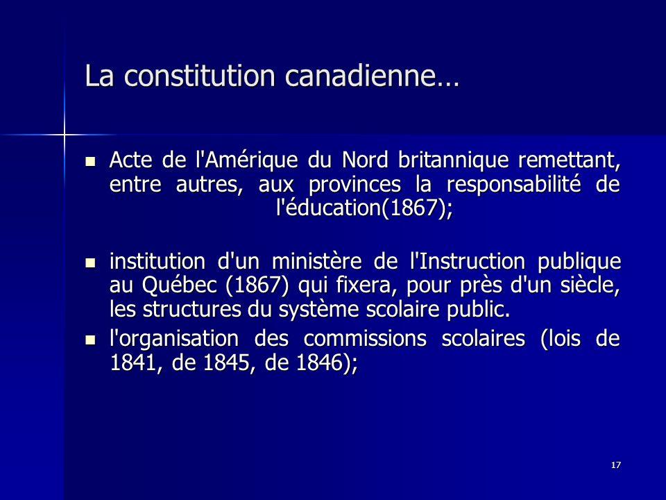 17 La constitution canadienne… Acte de l'Amérique du Nord britannique remettant, entre autres, aux provinces la responsabilité de l'éducation(1867); A
