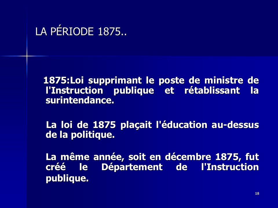 18 LA PÉRIODE 1875.. 1875:Loi supprimant le poste de ministre de l'Instruction publique et rétablissant la surintendance. 1875:Loi supprimant le poste