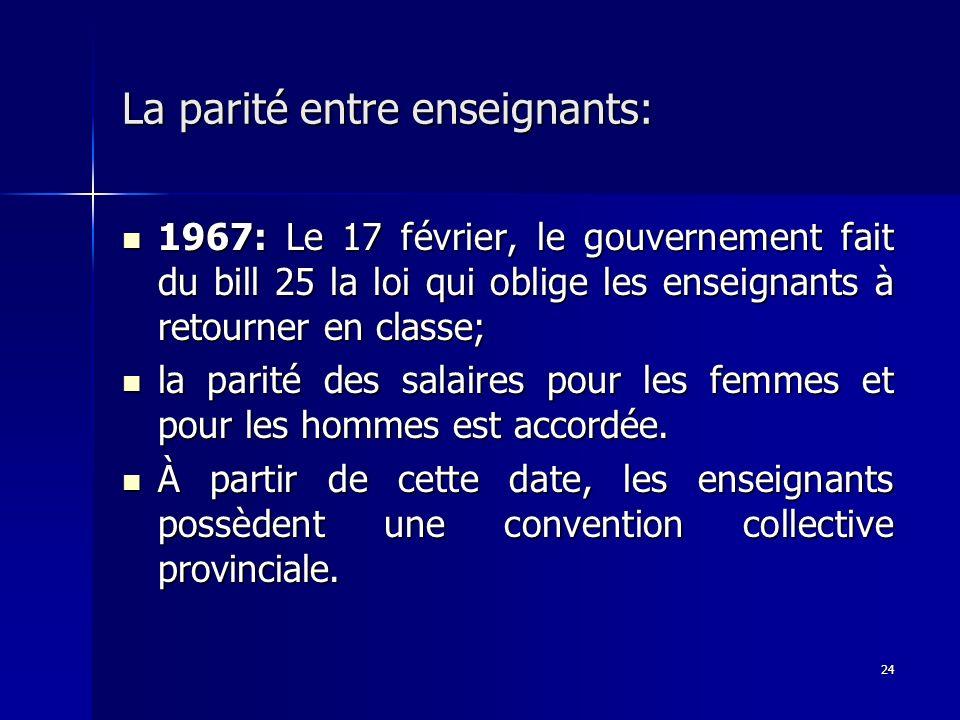 24 La parité entre enseignants: 1967: Le 17 février, le gouvernement fait du bill 25 la loi qui oblige les enseignants à retourner en classe; 1967: Le
