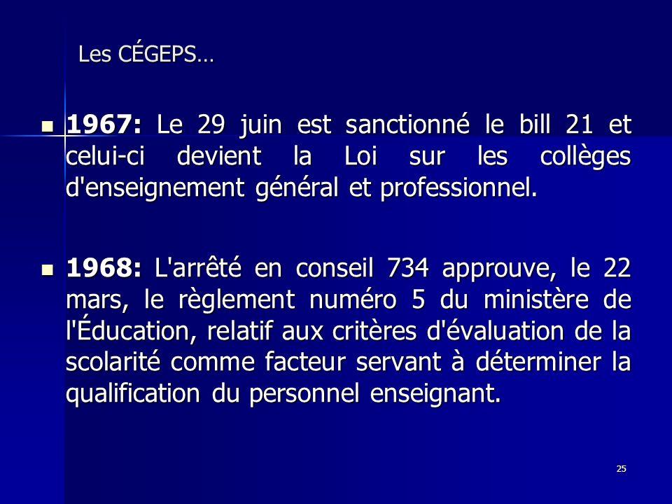 25 Les CÉGEPS… 1967: Le 29 juin est sanctionné le bill 21 et celui-ci devient la Loi sur les collèges d'enseignement général et professionnel. 1967: L
