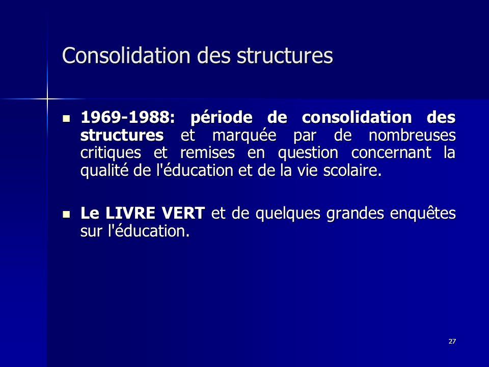 27 Consolidation des structures 1969-1988: période de consolidation des structures et marquée par de nombreuses critiques et remises en question conce