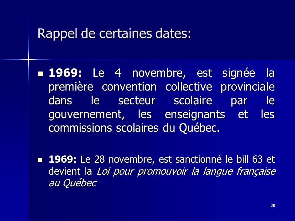 28 Rappel de certaines dates: 1969: Le 4 novembre, est signée la première convention collective provinciale dans le secteur scolaire par le gouverneme
