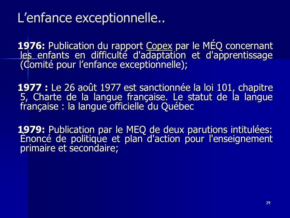 29 Lenfance exceptionnelle.. 1976: Publication du rapport Copex par le MÉQ concernant les enfants en difficulté d'adaptation et d'apprentissage (Comit