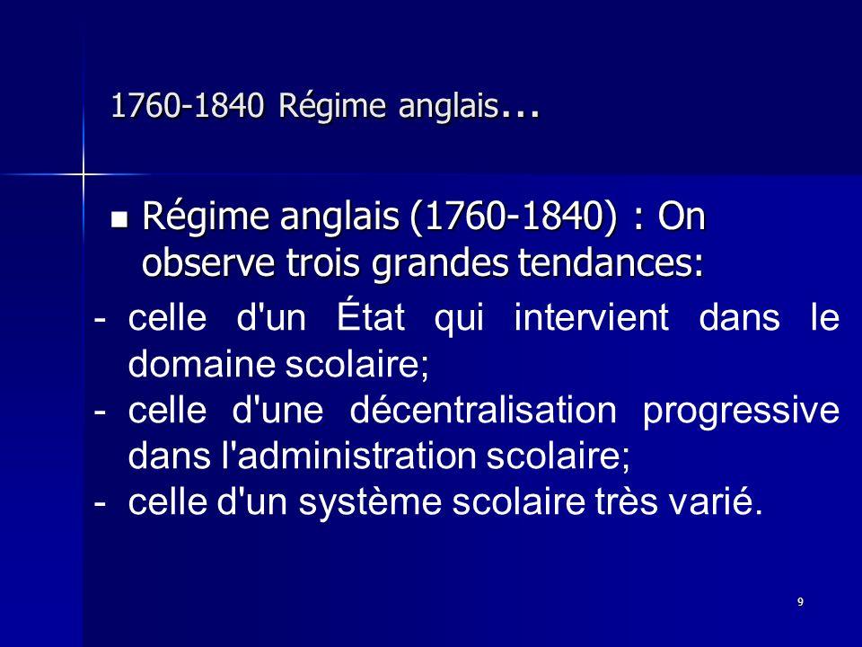 9 1760-1840 Régime anglais … Régime anglais (1760-1840) : On observe trois grandes tendances: Régime anglais (1760-1840) : On observe trois grandes te