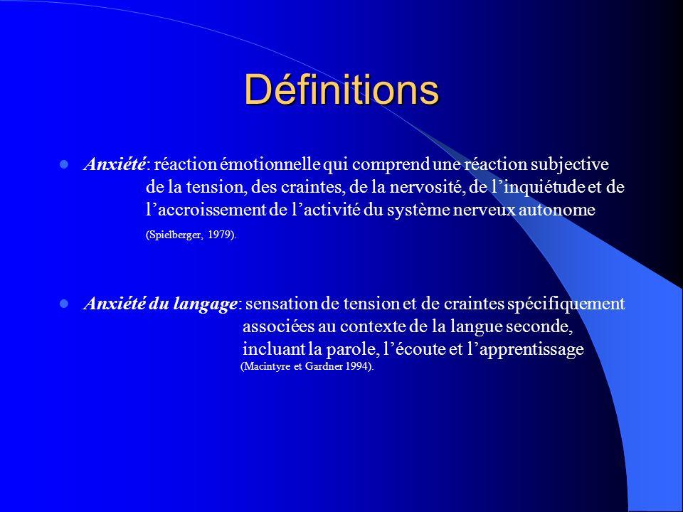 Plus la langue est difficile à apprendre, cest-à-dire différente de la langue première, moins lindividu développera de lanxiété.