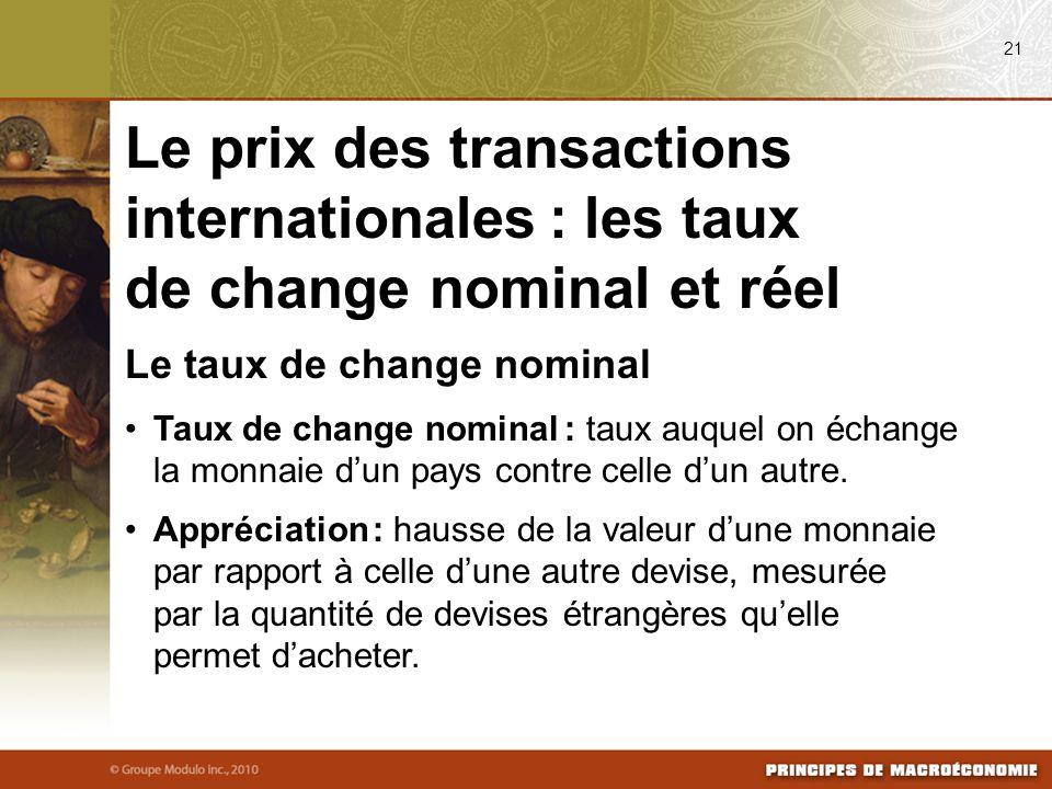 Le taux de change nominal Taux de change nominal : taux auquel on échange la monnaie dun pays contre celle dun autre.