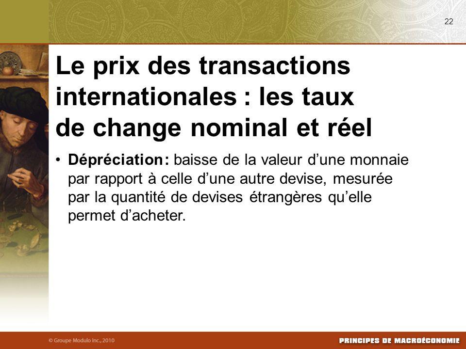 Dépréciation : baisse de la valeur dune monnaie par rapport à celle dune autre devise, mesurée par la quantité de devises étrangères quelle permet dacheter.