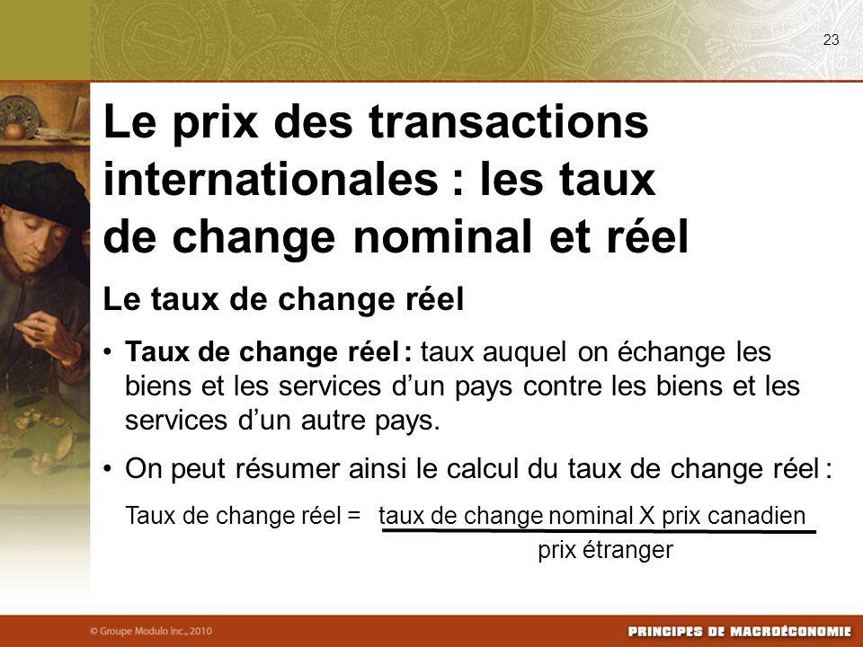 Le taux de change réel Taux de change réel : taux auquel on échange les biens et les services dun pays contre les biens et les services dun autre pays.