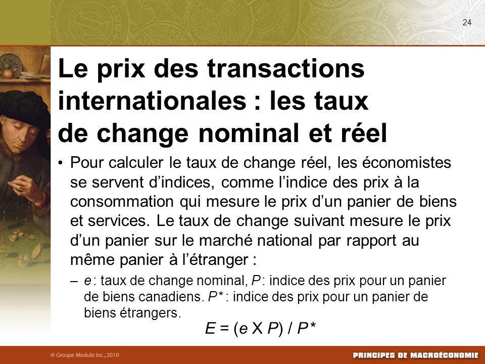 Pour calculer le taux de change réel, les économistes se servent dindices, comme lindice des prix à la consommation qui mesure le prix dun panier de biens et services.