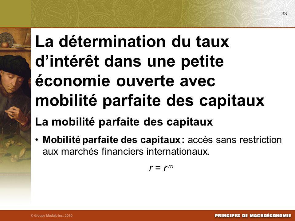 La mobilité parfaite des capitaux Mobilité parfaite des capitaux : accès sans restriction aux marchés financiers internationaux.