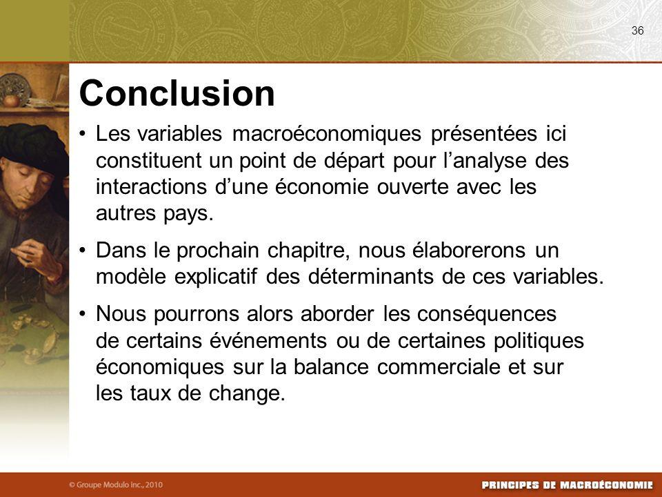 Les variables macroéconomiques présentées ici constituent un point de départ pour lanalyse des interactions dune économie ouverte avec les autres pays.
