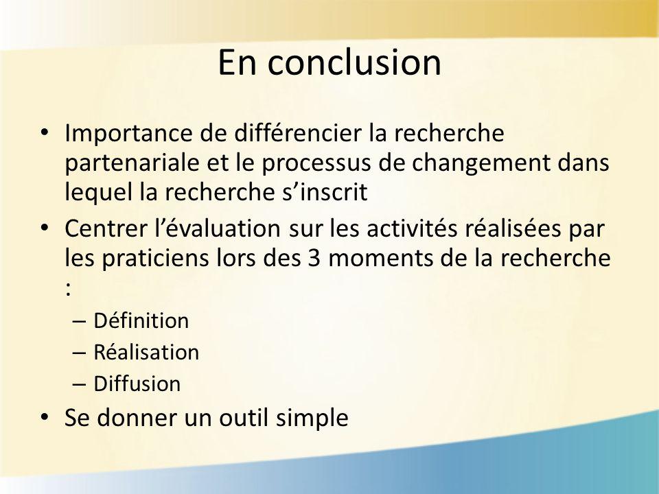 En conclusion Importance de différencier la recherche partenariale et le processus de changement dans lequel la recherche sinscrit Centrer lévaluation