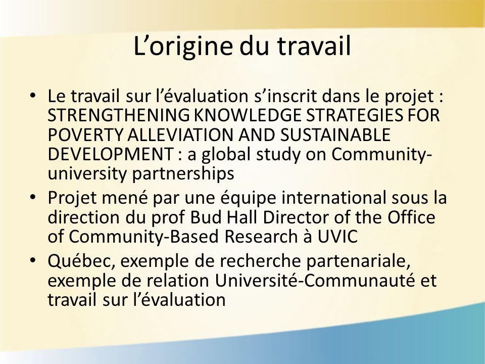 Lorigine du travail Le travail sur lévaluation sinscrit dans le projet : STRENGTHENING KNOWLEDGE STRATEGIES FOR POVERTY ALLEVIATION AND SUSTAINABLE DE
