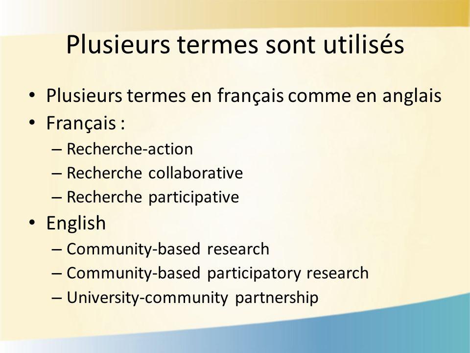 Plusieurs termes sont utilisés Plusieurs termes en français comme en anglais Français : – Recherche-action – Recherche collaborative – Recherche participative English – Community-based research – Community-based participatory research – University-community partnership