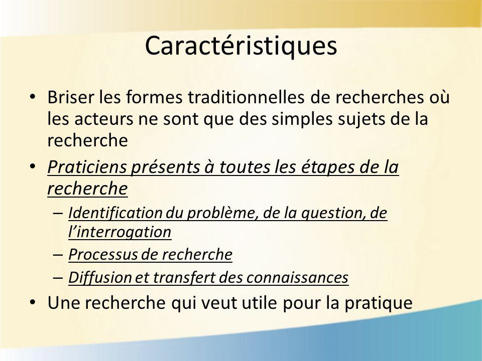 Caractéristiques Briser les formes traditionnelles de recherches où les acteurs ne sont que des simples sujets de la recherche Praticiens présents à t