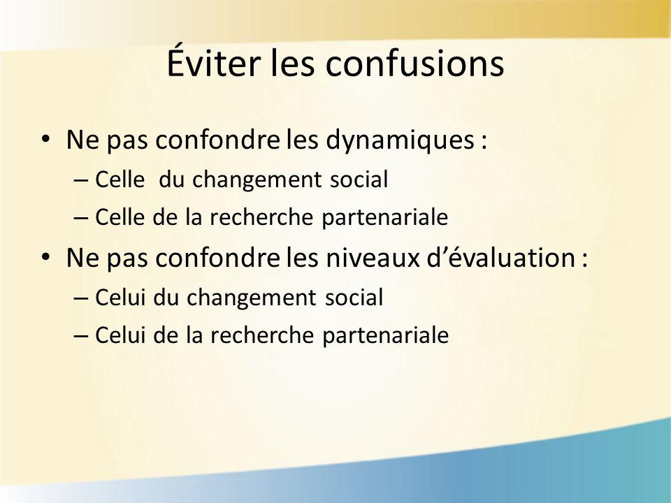 Éviter les confusions Ne pas confondre les dynamiques : – Celle du changement social – Celle de la recherche partenariale Ne pas confondre les niveaux