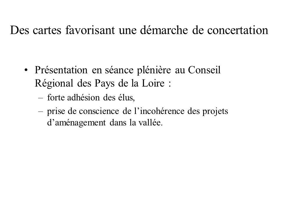 Des cartes favorisant une démarche de concertation Présentation en séance plénière au Conseil Régional des Pays de la Loire : –forte adhésion des élus